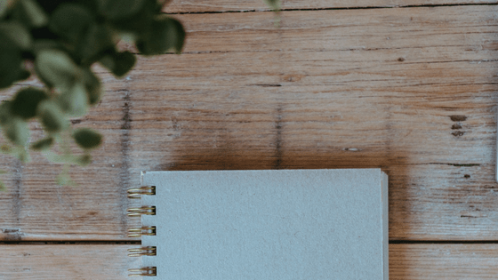 white notebook on wood table with plant
