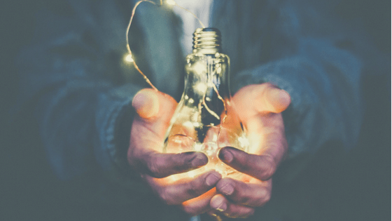 Fairy lights inside of a lightbulb.