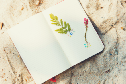 A notebook on a beach.