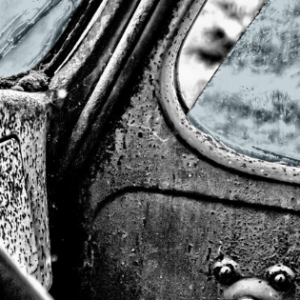rusted vintage car interior