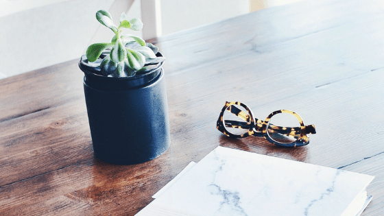 tortoise shell reading glasses, small plant and notebook on wood table