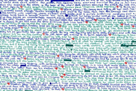 color coded writing by writer Rick Wormwood