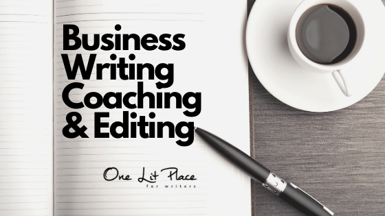 business writing coaching and editing notebook with white espresso cup for One Lit Place