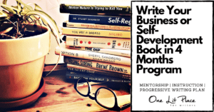 business and self-help books beside yellow potted plant with text